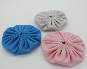 Trio of Flowers Yo-Yo hand made pink grey blue 9 cm