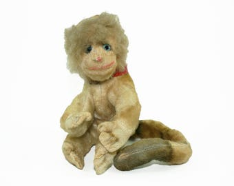 Rare Steiff Monkey, Vintage 'Mungo' Steiff Monkey, Small Mohair Monkey, 1950s 1960s Original Steiff Collectable, Vintage Stuffed Toy Animal