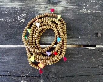 multi colored mini tassel boho necklace