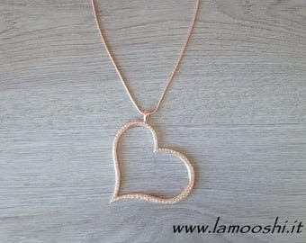 LARGE rhinestone HEART charm necklace in gift box