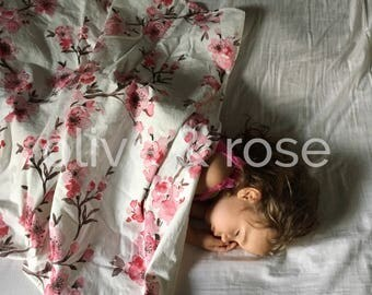 Watercolor Cherry Blossom Baby Blanket - Toddler Blanket - Kid Blanket - Minky Blanket