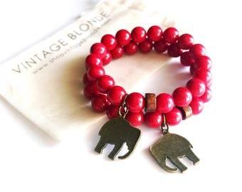 Alabama Crimson Red Beaded Elephant Charm Bracelet | Bohemian Jewelry | Roll Tide | Elephants | Football | Game Day | Free Shipping