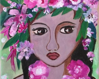 """""""Little flower of the Islands"""" portrait female-acrylic painting on canvas - 20 x 20"""