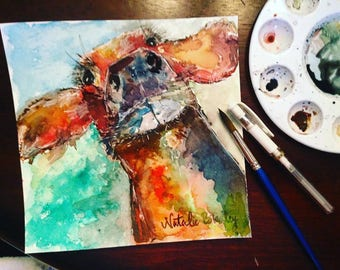 8x8 Abstract Watercolor Cow Original Painting
