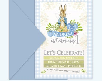 Peter Rabbit Printable Invitation | Custom made | Birthday Invitations | Birthday Invites | Peter Rabbit Party | First Birthday Invitation