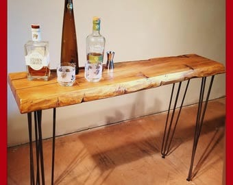 Hairpin Leg, Reclaimed Wood Console Table, Narrow Sofa Table, Entry Hall Table, Rustic Table, Natural edge Table, Sideboard Table, Wine Bar