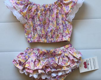Baby Girl Ruffle Nappy Cover, Nappy Cover and Crop Top Set, Size 1, new baby gift, 1st Birthday, summer outfit