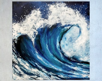 Wave Painting, Surfing art, Abstract art, Seascape art, Painting on Canvas, Ocean Painting, Coastal art, Tropical Decor, Nikki Chauhan