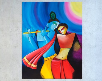 Krishna Painting, Asian decor,  Indian Contemporary, Radha Krishna, Hindu God, India canvas painting, Indian wall art, Niks Paint Gallery