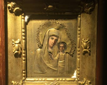 An Antique XIX c Kazan Mother of God Russian Icon in Gilt & Wooden Frame