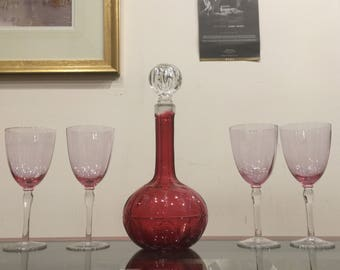 An Antique (Victorian) Ruby Glass Decanter and 4 Matching Wine Goblets
