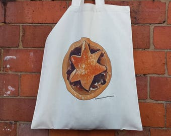 Christmas Tote bags by Alice Draws The Line, 100% recycled, reusable bag. A choice of designs; Twist & Sprout and a Mince pie!