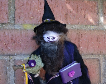 Professor Mauve. Wizard. Mage. Magician. Woodland Folk. wool felt creations. Magic