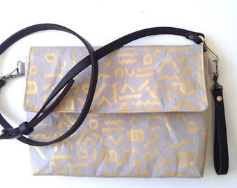 Grey and Gold Squiggle Handbag/Clutch