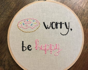 Donut Worry, Be Happy Embroidery