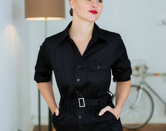 OUTLET Designer JumpSuit, Black Jumpsuit, elegant fashion, work wear, cotton jumpsuit, womens jumpsuit, Jumpsuit Women