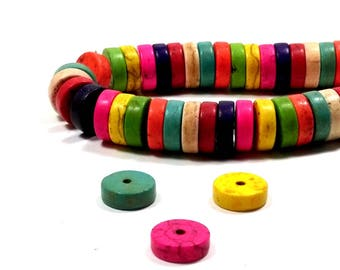 50 perles howlite disques multicolores 10 mm