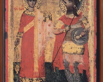 Saint-Stephen and Saint-Christopher,17th century icon,Unknown Greek painter.Christian orthodox icon.FREE SHIPPING