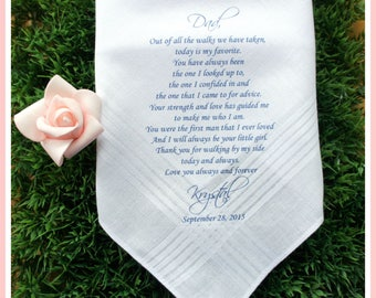 Father of the Bride Handkerchief-Father of the bride gift-Wedding Hankerchief-PRINTED-CUSTOMIZED-Wedding hankies-Wedding gift for Dad