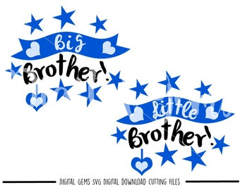 Big Brother, Little Brother svg / dxf / eps / png files. Digital download. Compatible with Cricut and Silhouette machines. Commercial use ok