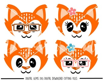 Fox faces svg / dxf / eps / png files. Digital download. Compatible with Cricut and Silhouette machines. Small commercial use ok.
