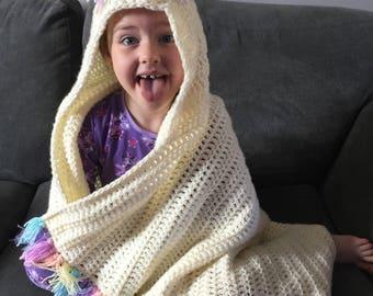 Crochet hooded unicorn blanket, unicorn blanket, crochet blanket