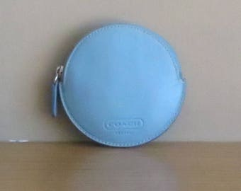 Coach Perfectly Round Blue Leather Coin Purse With Zipper Closure- Rare Find