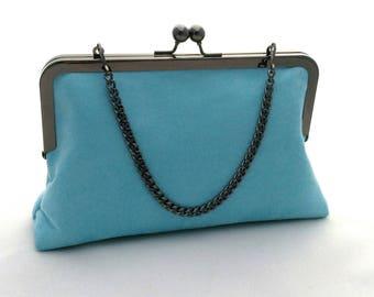 Blue suede purse | Etsy