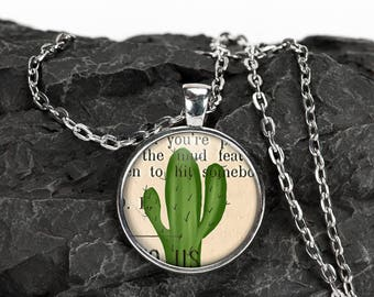 Cactus Necklace - Cactus Pendant - Boho Jewelry - Bridal Party Gift - Flower Girl Gift - Cactus Gift - Birthday Gift - Gift For Her - Cactus