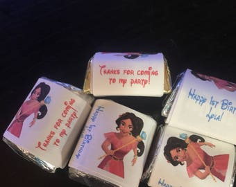 90 princess elena avalorTheme Birthday Party Hershey Mini Nugget Labels candy wrappers