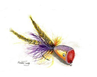 Fishing Fly Lure Watercolor Painting available as a Print, Original or in Cards