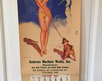 Vintage pinup girl calendar 1950 by Earl Macpherson