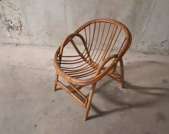 Shell rattan chair child 50s