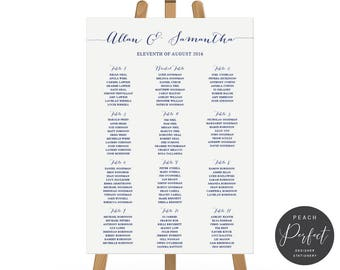 Printable Wedding Seating Chart, Seating Plan, Navy Blue Wedding, Free Colour Changes, Digital or Professionally Printed, Navy Soiree