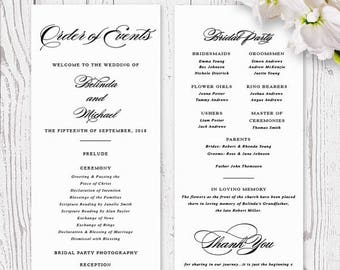 Black and White Calligraphy Wedding Program Order of Service, Deposit, Professionally Printed, Double Sided, Peach Perfect Australia