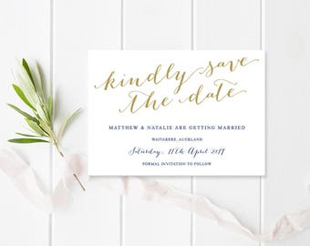 Navy and Gold Wedding Save The Date, Printable or Professionally Printed, Classic Glam, Modern Script, Free Colour Changes, Peach Perfect