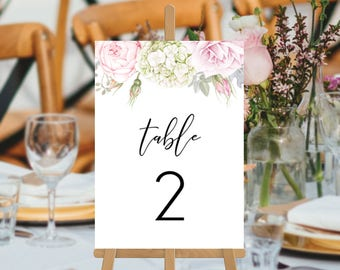 Wedding Table Numbers, Printable Digital File, Roses, Floral Watercolour Wedding Table Cards, Gemma Suite