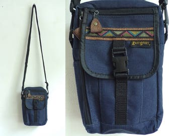 tribal crossbody bag, southwestern bag canvas travel bag 90s small fabric organizer bag 1990s travel purse hiking travel wallet shoulder bag