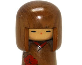 Kokeshi Doll, Japanese Kokeshi Doll, Peg Doll, Vintage Kokeshi Doll, Signed Kokeshi, Retro Wooden Doll, Japanese Wooden Doll, Gift for her