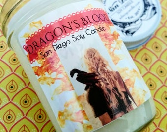 Dragon's Blood soy candle, got, dragon, dragon blood, mother of dragon's,