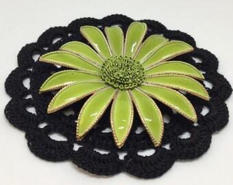 Vintage Vibrant Large Metal Gerber Daisy Flower Brooch Pin