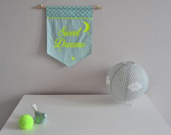 Banner / wall hanging / pennant in green / neon yellow