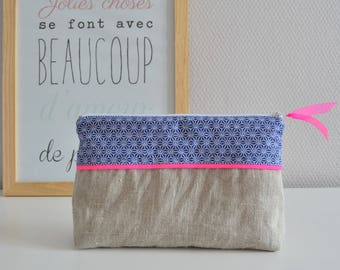 Toiletry bag in cotton and linen / blue / neon pink