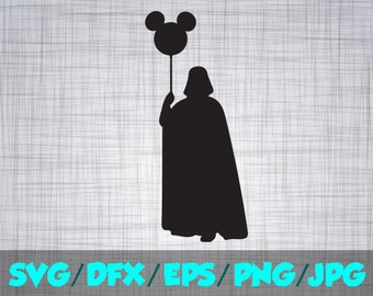 Star Wars SVG Darth Iron On Decal Cutting File / Clipart in Svg, Eps, Dxf, Png, Jpeg for Cricut and Silhouette Disney Mickey Balloon