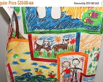 """SALE VINTAGE Burlap Children's Drawings Fabric Kitten Cats Trains 50"""" x 44"""" Kid's Red Blue Yellow Crayon"""