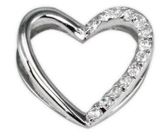 Sterling Silver Heart Slider CZ Pendant PZ-8070