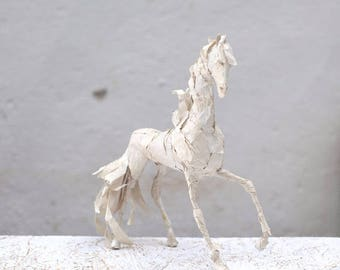 Paper Mache Sculpture, White Horse Sculpture, Recycled Cardboard, White Brass, Animal Sculpture, Recycled Art, Horse Figurine, Paper Horse
