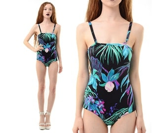 Vintage 60s 70s TROPICAL Pinup Bombshell FLORAL One-Piece Swimsuit Bathing Suit S *Free Shipping U.S.* vtg