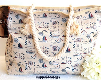 Beach Bag.Anchor Print Beach Bag/Tote/Purse.Canvas Large Tote Bag.Off white with Ocean Objects Beach Bag/Tote.Nautical Large Beach Bag