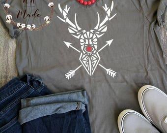 Christmas shirt, women's Christmas shirt, Christmas deer shirt, reindeer shirt, Rudolph shirt, stag deer shirt, cute Christmas shirt, deer